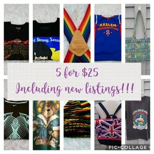 5 for $25 SALE!!!!!
